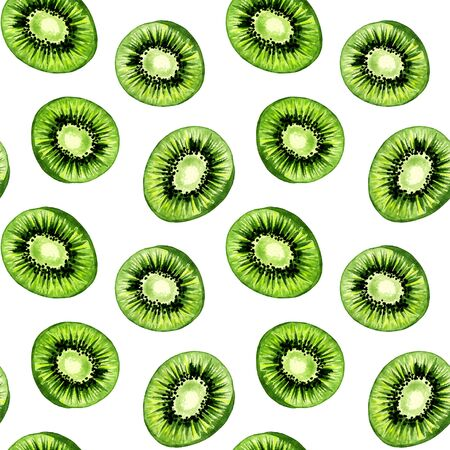 Kiwi pattern, seamless background, tropical fruits in watercolor paint drawing texture. Kiwi fruits slices pattern, green summer food design for textile or fabric print and decoration background 写真素材
