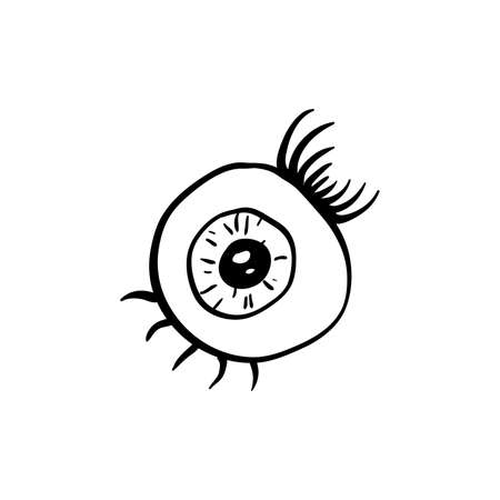 Halloween eye doodle element. Isolated vector illustration for october holiday design