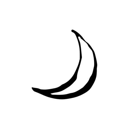 Halloween moon doodle element. Isolated vector illustration for october holiday design Ilustração