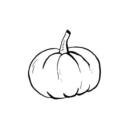 Halloween doodle pumpkin element. Isolated vector illustration for holiday design