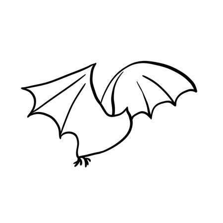 Halloween bat doodle element. Isolated vector illustration for october holidays design