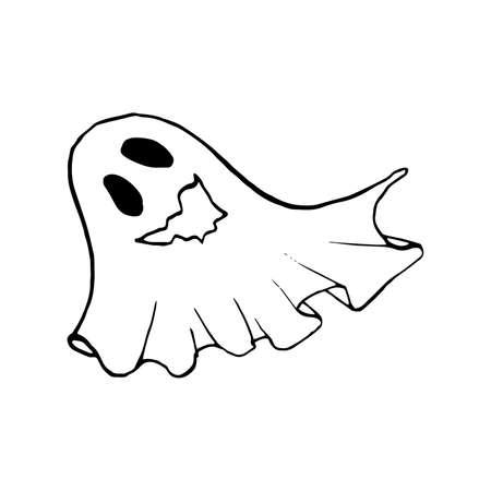 Halloween doodle ghost element. Isolated vector illustration for design Ilustração