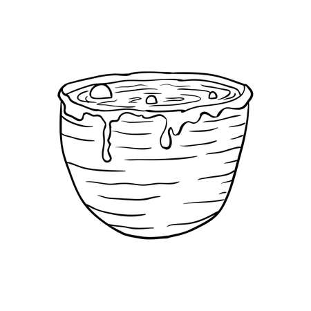 Halloween doodle vat of potion element. Isolated vector illustration for october holiday design