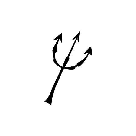 Halloween doodle devil trident element. Isolated vector illustration for hell horror design