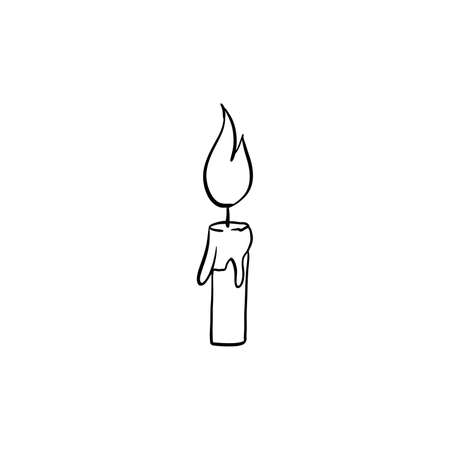 Halloween candle doodle element. Isolated vector illustration for october holiday design