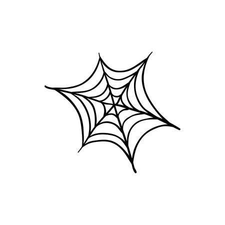 Halloween spider web doodle element. Isolated vector illustration for october holiday design
