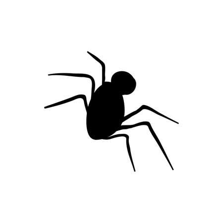 Halloween spider black silhouette doodle element. Isolated vector illustration Illustration