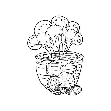 Vat with poison and witch hat, Halloween doodles. Isolated vector illustration in contour or outline drawing style for coloring book pages design.