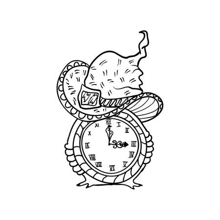 Witch hat and clock, Halloween doodles. Isolated vector illustration in contour or outline drawing style for coloring book pages design.