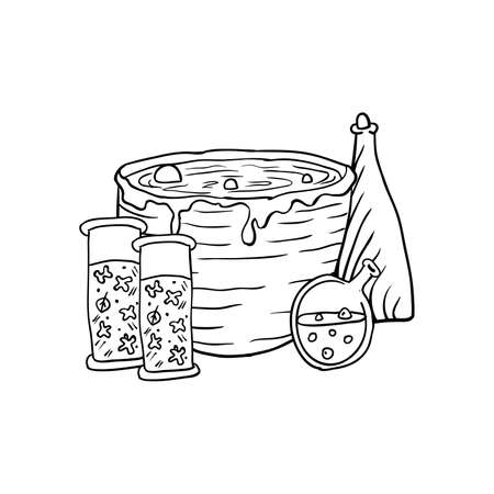Vat with poison, poison and pumpkin, Halloween doodles. Isolated vector illustration in contour or outline drawing style for coloring book pages design.