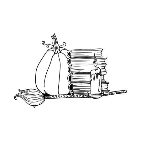 Broom and pumpkin near stack of books and candle. Halloween doodles. Isolated vector illustration in contour or outline drawing style for coloring book pages design.
