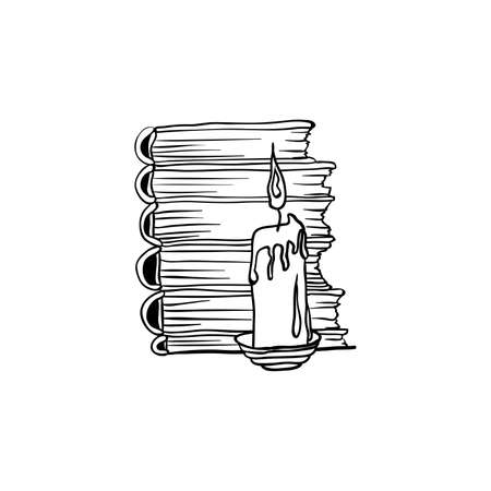 Stack of books and candle, Halloween doodles. Isolated vector illustration in contour or outline drawing style for coloring book pages design.