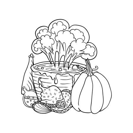Witch hat near vat with poison, poison and pumpkin, Halloween doodles. Isolated vector illustration in contour or outline drawing style for coloring book pages design. Illustration