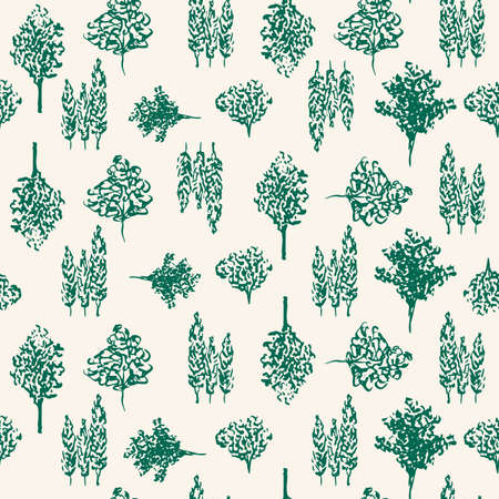 Green Trees Vector Hand Drawn Background. Forest seamless pattern for wrapping paper and gift designs
