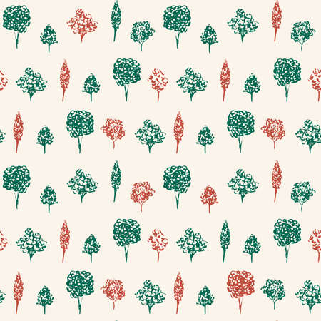 Green and Red Trees Vector Hand Drawn Background. Forest seamless pattern for wrapping paper and gift designs