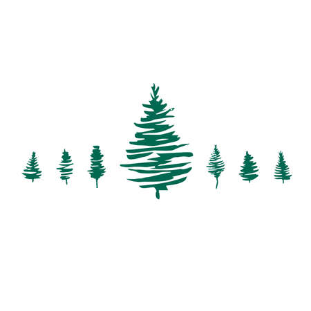 Christmas trees vector set. Pine tree, fir tree. Green silhouettes illustration isolated on white background