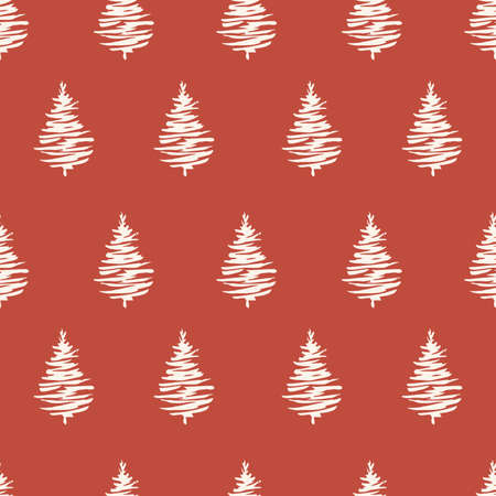 Red Christmas trees seamless patterns. Green forest with pine trees, hand drawn vector endless illustration for fabric and sublimation print design