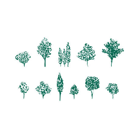 Fruit trees linocut vector set. Green silhouettes isolated on white Illustration