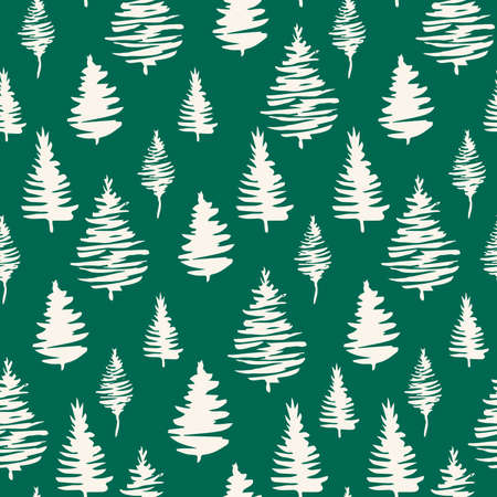 Green fir tree vector seamless pattern for winter holiday design. Hand drawn vector endless illustration for fabric and sublimation print design Illustration