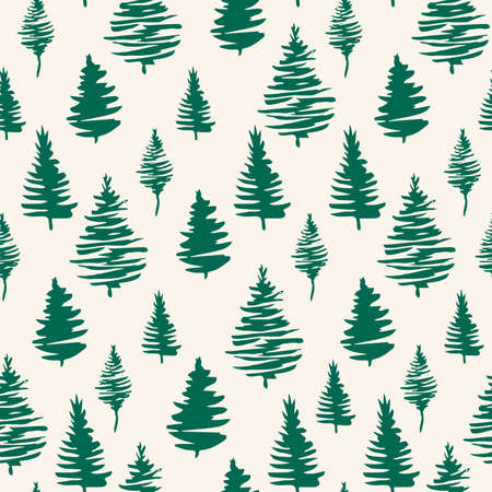 Green Christmas trees seamless patterns. Green forest with pine trees, hand drawn vector endless illustration for fabric and sublimation print design