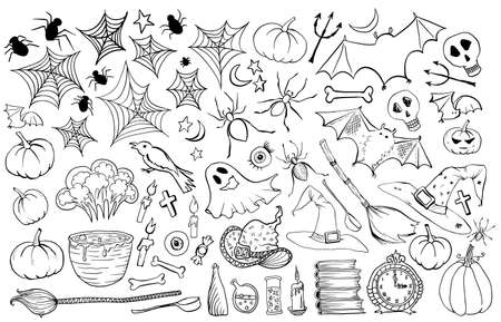 Halloween vector hand drawn icons set. Vector illustration isolated on white blackground. Witch accessories, witches broom, hat, books,candle, pot with potion Illustration
