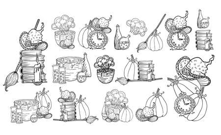 Halloween vector hand drawn compositions set. Vector illustration isolated on white blackground. Wall Clock, cat,pumpkin, bottles and cobweb for Happy Halloween holiday