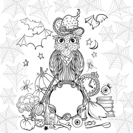 Halloween coloring page with owl in hat. Witch tools and spider web for Halloween Holiday. Vector black outline contour illustration isolated on white Illustration