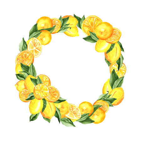 Lemons Wreath. Watercolor Composition with lemons and leaves, arrangement design isolated on white. For menu design, cocktail party decorations