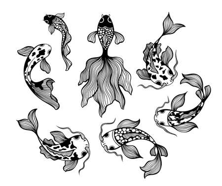 Japanese fish set, carp koi line drawing vector illustrations. Asian hand drawn waves isolated on white