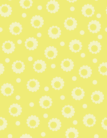 Simple yellow flowers seamless vector pattern.
