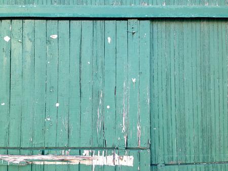 Teal wooden doors, peeling paint, background image