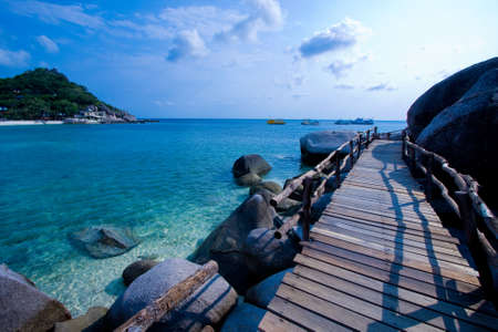 nangyuan: Wood bridge on the sea of Thailand