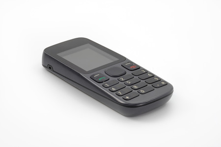 protuberance: old mobile phone on white background