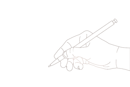 hand pencil: Hand with pencil writing something with line