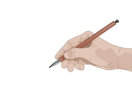 Hand with pencil writing something isolated on white background vector illustration