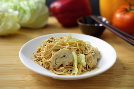 fried Chinese noodle with vegetable in Vegetarian festival Stock Photo