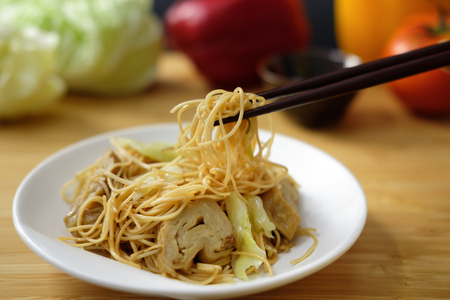 beansprouts: fried Chinese noodle with vegetable in Vegetarian festival Stock Photo