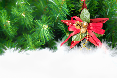 christmas decorated ornament hanging in fir tree. Open space for write, AF point selection. Stock Photo