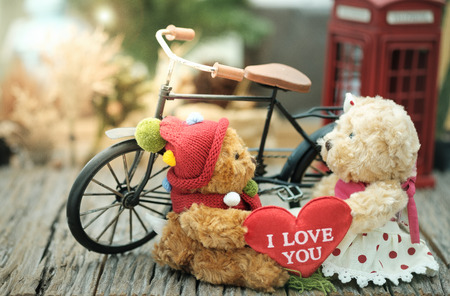 mini bike: Teddy bear giving heart-shaped pillow to his girlfriend in warm light tone, AF point selection, Add lenses Flare and artificial light.