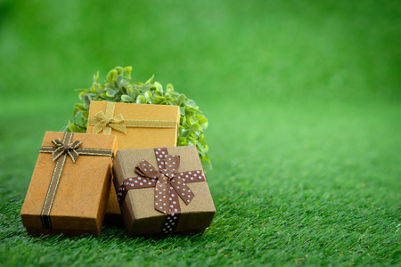 Gift box with as a present for Christmas, new year, valentine day or anniversary on green grass background, top view, space for write. Stock Photo