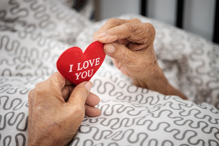 encouraged: Hands of an elderly woman holding a red heart. Love in family concept.