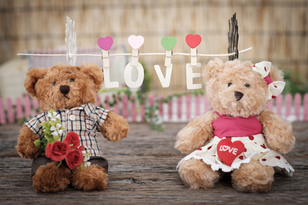 Teddy Bear holding a heart-shape pillow and bouquet of roses in valentine concept with space for write, AF point selection and blur, Vintage tone picture. Stock Photo