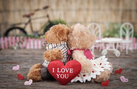 Teddy Bear holding a heart-shape pillow in valentine concept with space for write, AF point selection and blur, Vintage tone picture.