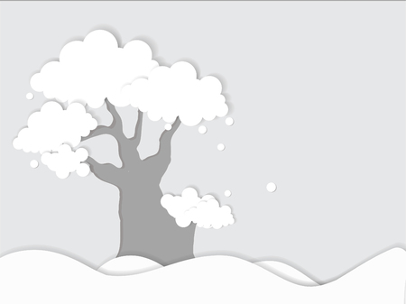 hillock: Vector of  tree on gray paper background. Illustration