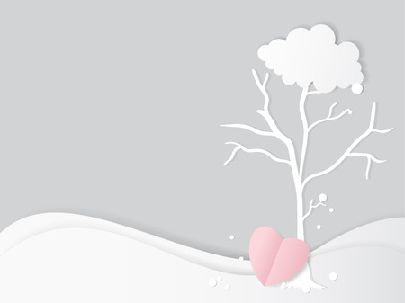 dwell: Vector of Valentines day greeting card design. Paper cut trees and pink heart shape, Autumn with love alone.