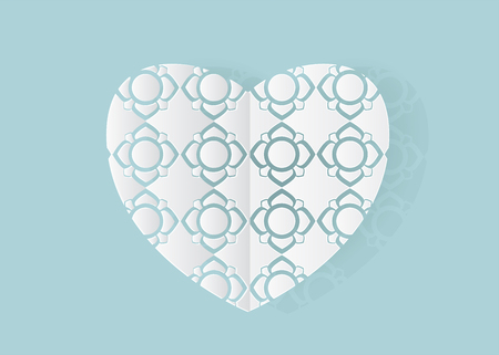 Vector of laser or Cut stencil white heart paper Wedding invitation or greeting card on blue background, valentine concept.