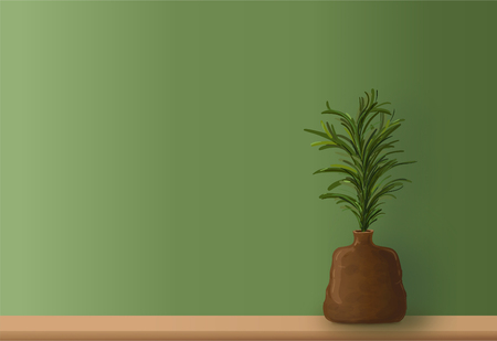 Green leaves in brown ceramic vase on wooden table with Copy space to write.