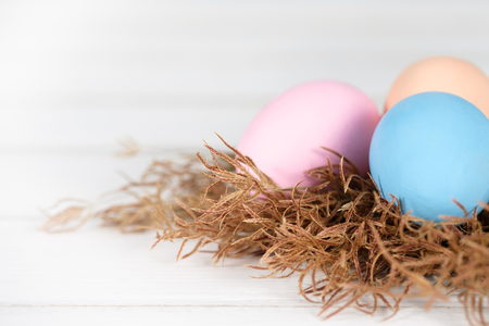 Easter eggs is a happy festival, Choose focus point with copy space to write. Standard-Bild