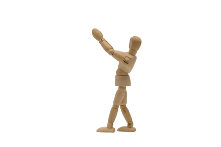 Wooden dummy raise arm isolated on white background.