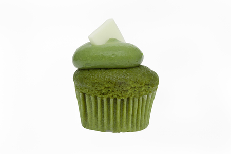 patisserie: Green tea Cupcake isolated on white background.